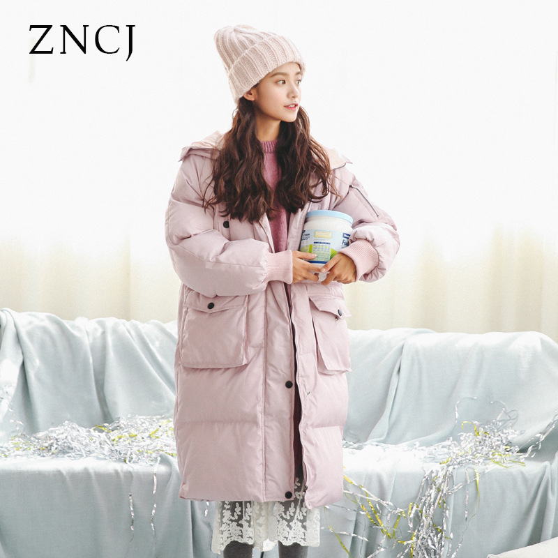 ZNCJ Winter Jacket Women Solid Color Down Cotton Long Hooded Outware Parkas Zipper Casual Warm Jackets Outfit Black Pink 2017 fashion boy winter down jackets children coats warm baby cotton parkas kids outerwears for