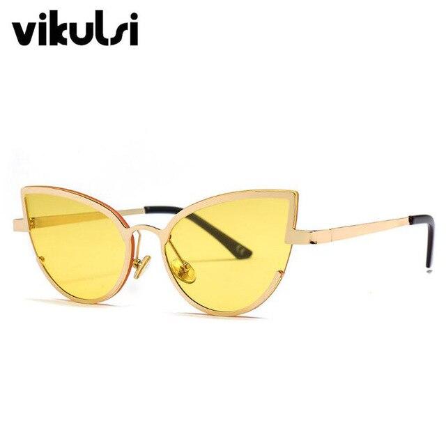 723281a113154 Semi-Rimless Designer Sunglasses Women Cat Eye Sexy 2019 Metal Frame Red  Yellow Cat Eye