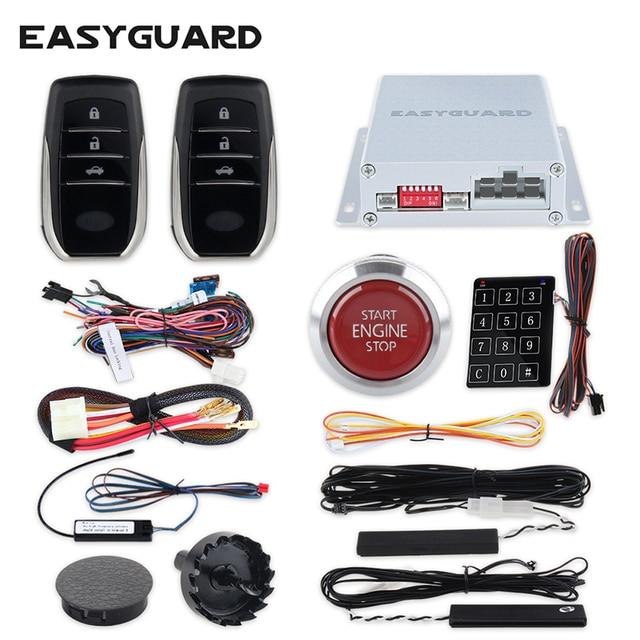 Cheap EASYGUARD PKE car alarm system remote central locking remote start system keyless entry push start system password entry