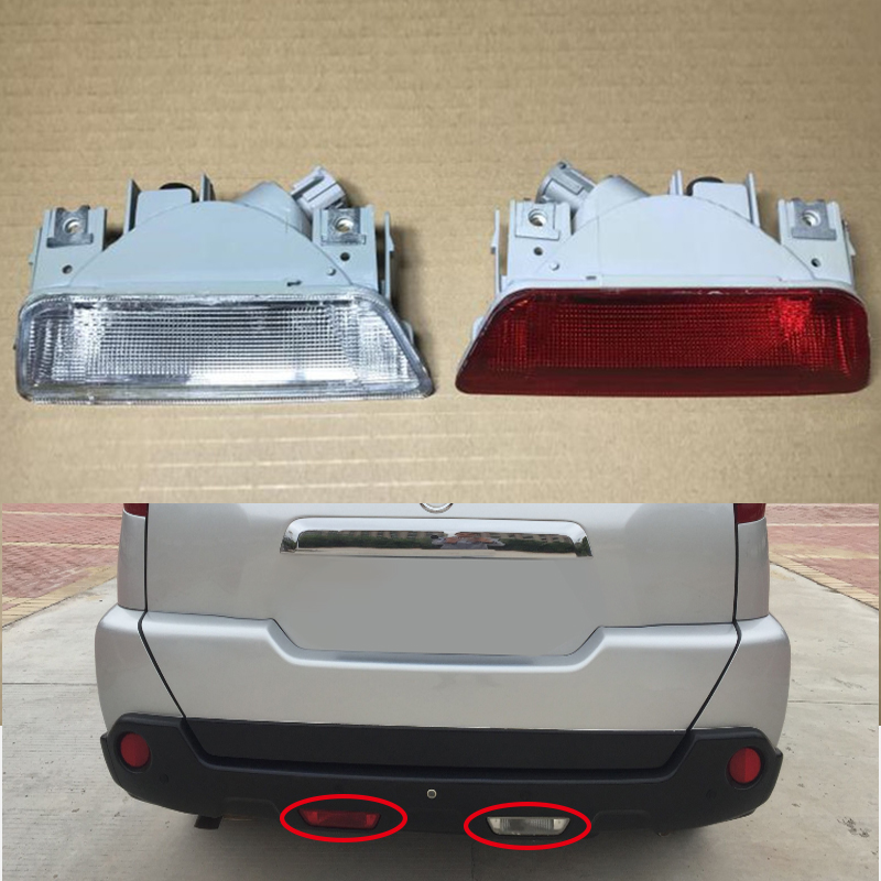 Mzorange Car rear bumper fog lamp Reverse Brake Reflector Lights For nissan X-Trail XTrail T31 2008 2009 2010 2011 2012 2013 rear fog lamp spare tire cover tail bumper light fit for mitsubishi pajero shogun v87 v93 v97 2007 2008 2009 2010 2011 2012 2015