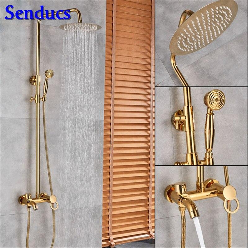 Senducs En Laiton Or kit de douche avec Pas Cher Prix Salle De Bains D'or système de douche avec Qualité Poli De Bain kit de douche