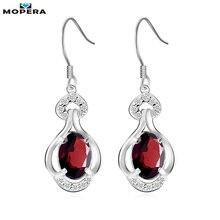 Mopera 1.44ct Natural Garnet Gemstone Earrings 925 Sterling Silver Jewelry Wedding Drop Earrings For Women Brand Fine jewelry