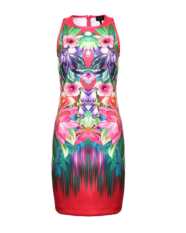 cou Robes Femmes Rouge De Robe O Imprimer Mode Gaine Fleur Multi qzwFq0SA