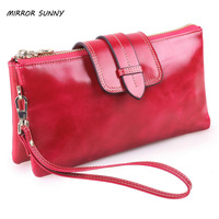 MIRROR SUNNY Genuine leather women long wallet first layer cow leather female handbag large capacity mini shoulder bag crossbody