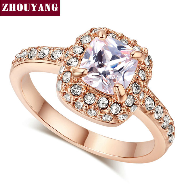 ZYR026 Four Claw Rose Gold Color Princess Cut Cubic Zirconia Wedding Ring Genuine Austrian Crystals Full Sizes Wholesale