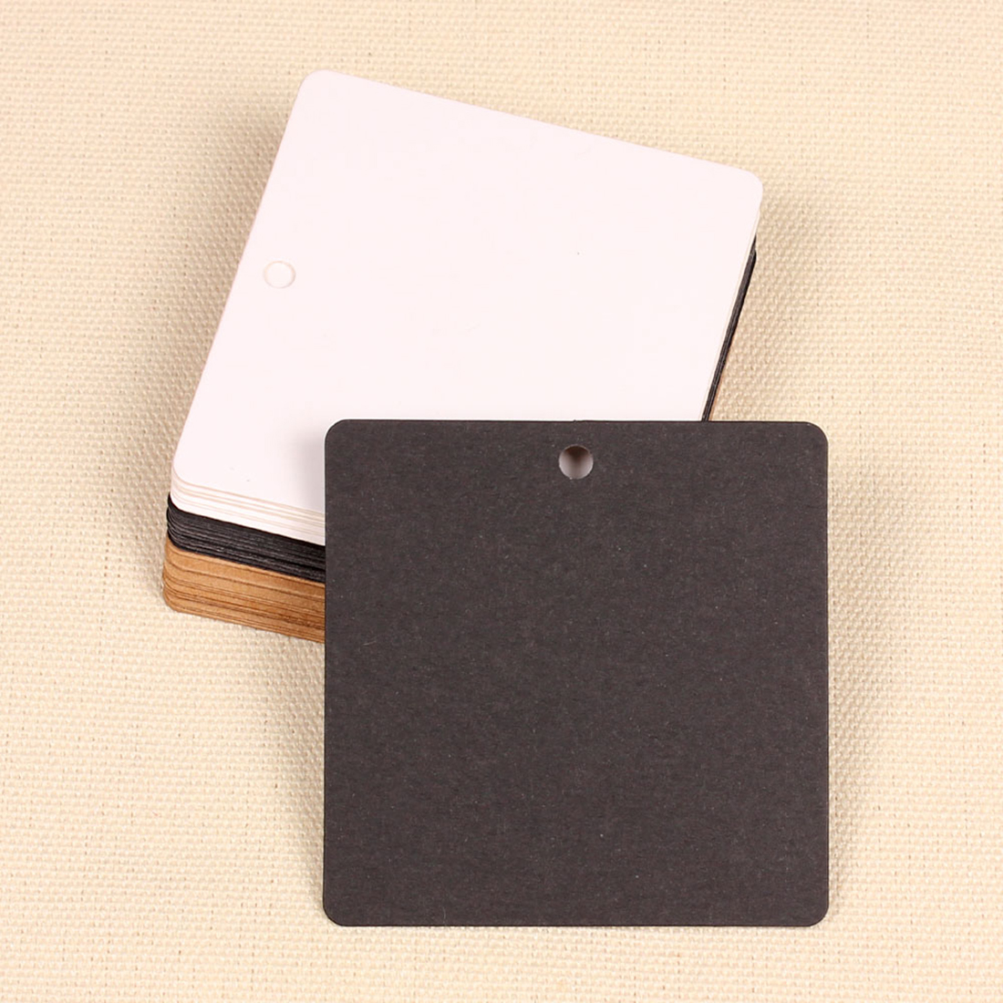 Square Blank Kraft Paper Gift Tags Wedding Scallop Favour Luggage 10Pcs/set