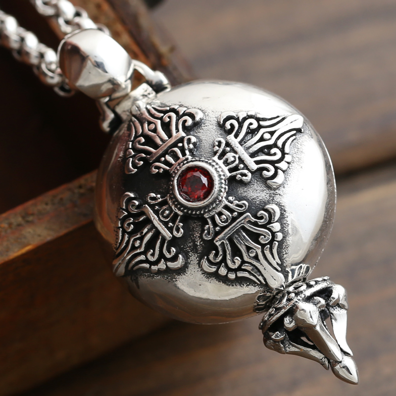 925 sterling silver jewelry manufacturers Buddhism JiangMo Vajra gawu pendant Pendant Silver Peace box 925 sterling silver jewelry necklace pendant retro evil vajra pestle jiangmo avoid evil spirits musical instruments