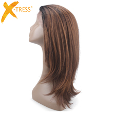 Medium Brown Lace Front Synthetic Hair Wigs Free Part X-TRESS Ombre Color Straight Lace Frontal Wig With Baby Hair For Women