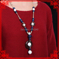 chinese wind ethnic High temperature ceramic beads necklace blue,red sandalwood  jewelry  vintage pendants necklace whited