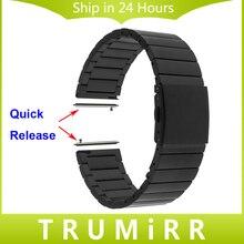 22mm de acero inoxidable reloj banda para moto 360 2 gen 46mm 2015 samsung galaxy gear 2 r380 r381 pulsera de liberación rápida de r382 correa