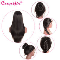 Glueless Full Lace Human Hair Wigs With Baby Hair Malaysian Straight Hair Wigs For Women Black Remy Hair Oxeye girl 130% Density