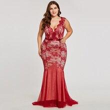 فستان سهرة طويل بدون أكمام من الدانتيل الناعم بمقاسات كبيرة