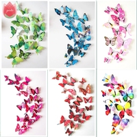 12Pcs DIY Lifelike 3D Multicolor Butterfly Magnet Fridge Magnet Wall Stickers Kids Baby Rooms Kitchen Home Decoration Free Glue
