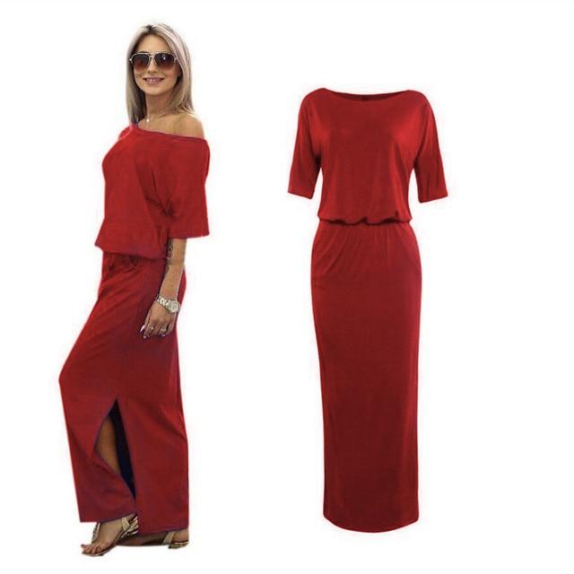 2018 Sexy Summer Women Boho Maxi Dress Short Sleeve Side Slit Loose Evening Party Long Beach Dress With Pocket Vestidos NQ804156