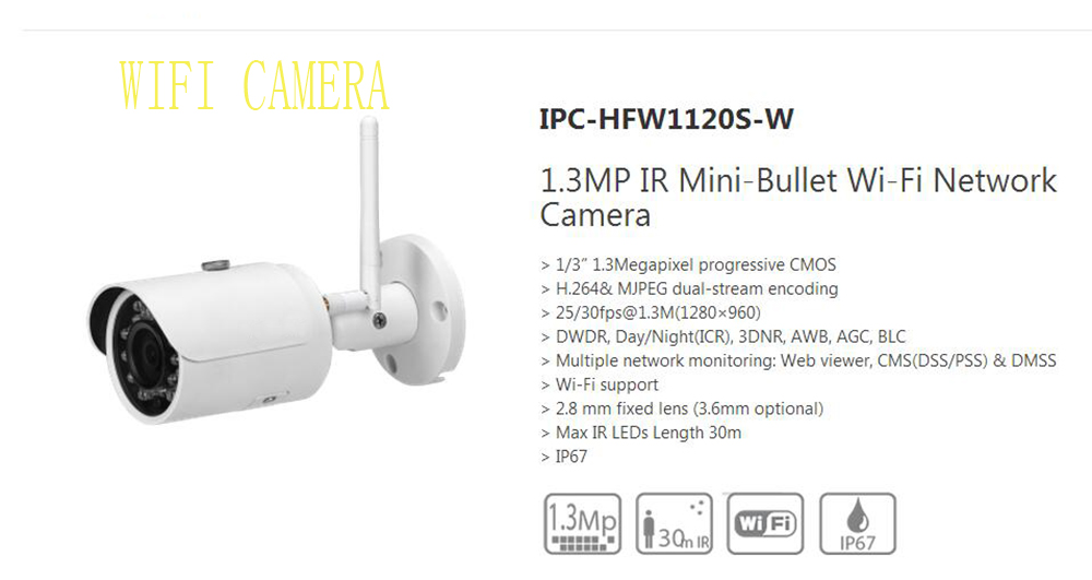 DAHUA 1.3MP WIFI Small Fixed IR Bullet IP Camera IP67 with 30M IR Distance Original English Version without Logo IPC-HFW1120S-W bullet camera tube camera headset holder with varied size in diameter