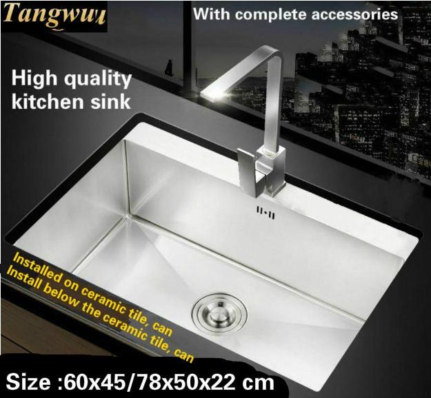 High End Kitchen Sinks American Woodmark Cabinets Tangwu Handmade Sink 4 Mm Thick Food Grade Stainless Steel Wash Bowl Big Single Slot 60x45 68x48 78x50x22 Cm