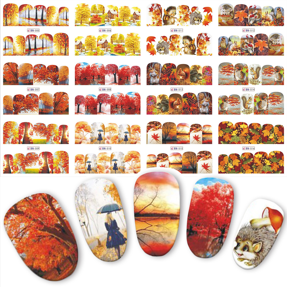 12pcs Beauty Autumn Yellow Trees Water Transfer Nail Art Stickers For Nails Decal  DIY Decorations Tips BN505-516 30 pcs floral design manicure transfer nail art tips stickers decals 3d flowers beauty tickers for nails