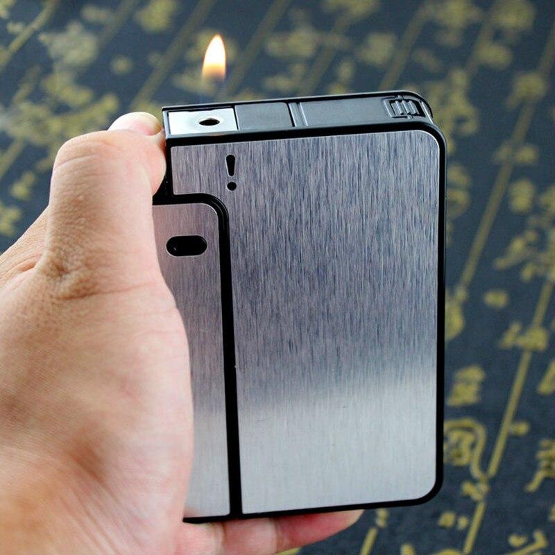 FOCUS Portable Metal Cigarette Boxes With Kerosene Oil Lighter 10pcs Cigarette Holder Case Lighter Gadget For Men Christmas Gift gadget