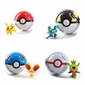 4sets/ pack Funk POP Throw Automatically Bounce Pokeball With Poke ball Figures Pikachu Anime Action Doll FOR Children's Toys