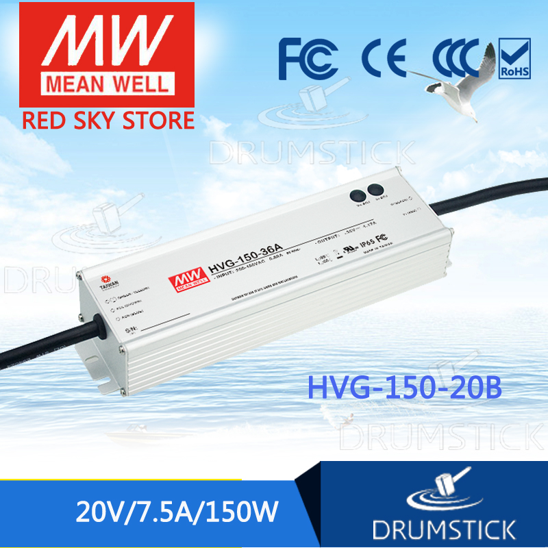 MEAN WELL HVG-150-20B 20V 7.5A meanwell HVG-150 20V 150W Single Output LED Driver Power Supply B type mean well hvg 150 54b 54v 2 78a meanwell hvg 150 54v 150 12w single output led driver power supply b type