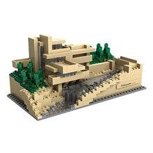 Loz World Famous Architecture Mini Diamond Building Block Falling Water House Villa Nanoblocl Bricks Educational Toys Collection