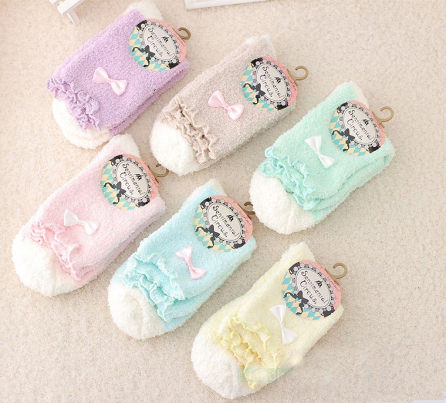 1 Pair Women Warm Socks Candy Color Soft Women Girls Fluffy Socks With Bows Coral Velvet For Princess Holiday Birthday Gift
