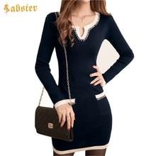 Новый стиль Для женщин трикотажные Платья-свитеры осень-зима Вязаные изделия с длинными рукавами; тощий леди Деловая модельная одежда
