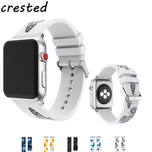 CRESTED Printing silicone strap for apple watch band 42mm 38mm rubber bracelet wrist belt for iwatch 3/2/1 with metal buckle