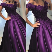 SuperKimJo Vetidos De Festa Purple Prom Dresses 2019 Off the Shoulder Lace Applique Beaded Gown Senior Formal Dress