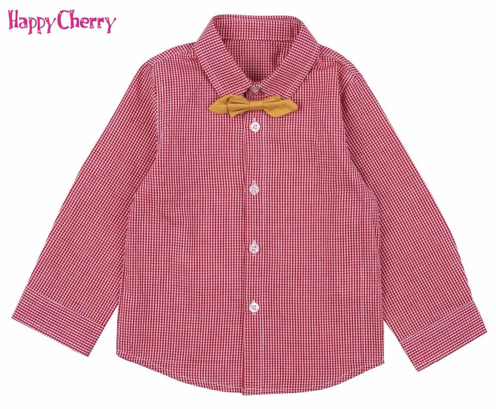 Fashion Baby Boys Red Plaid Polo Shirts Toddler Kid Long Sleeve Pure