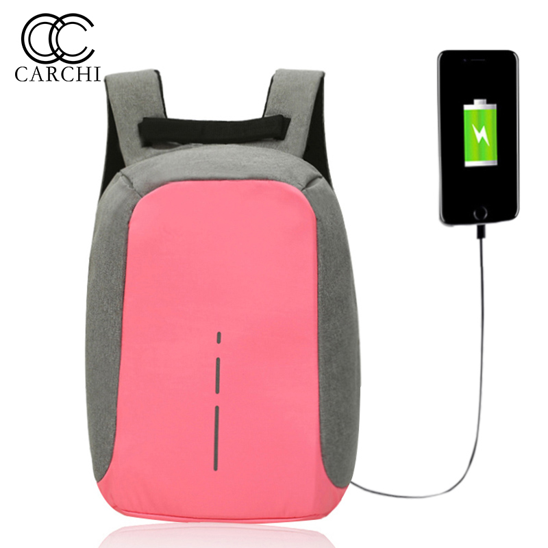 CARCHI New Women Backpacks Female Oxford Anti Theft Backpack Bag USB Charge 15 Inch Laptop Mochila
