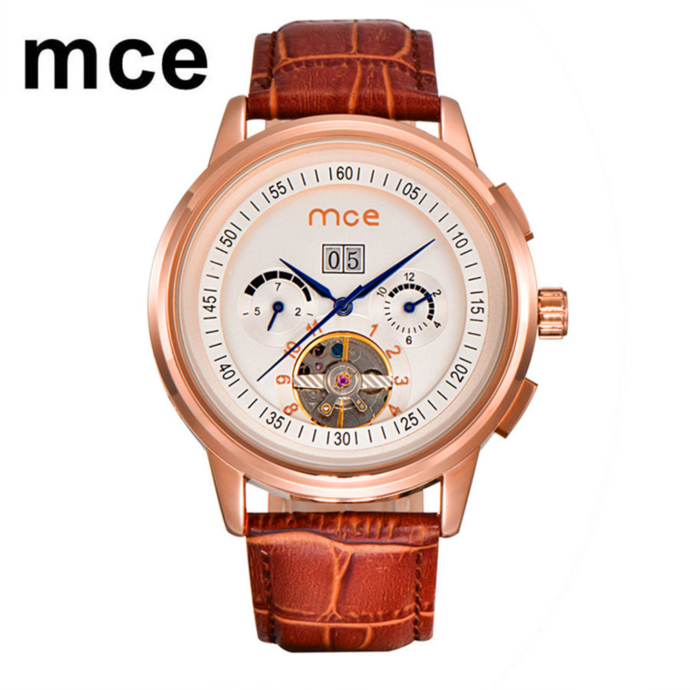 MCE Brand Men Tourbillon Automatic Mechanical Watches Men's Fashion Bussiness Dress Watch Black Leather Band Calendar Clock mce brand men self wind waterproof leather strap automatic mechanical male black white dial fashion tourbillon watch men clock