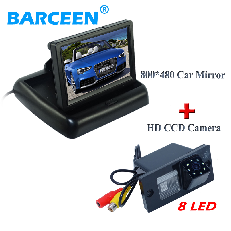 Use for for Hyundai H1 foldable 4.3 car rearview monitor with waterproof IP 69K 8 LED lights car reversing camera glass lens