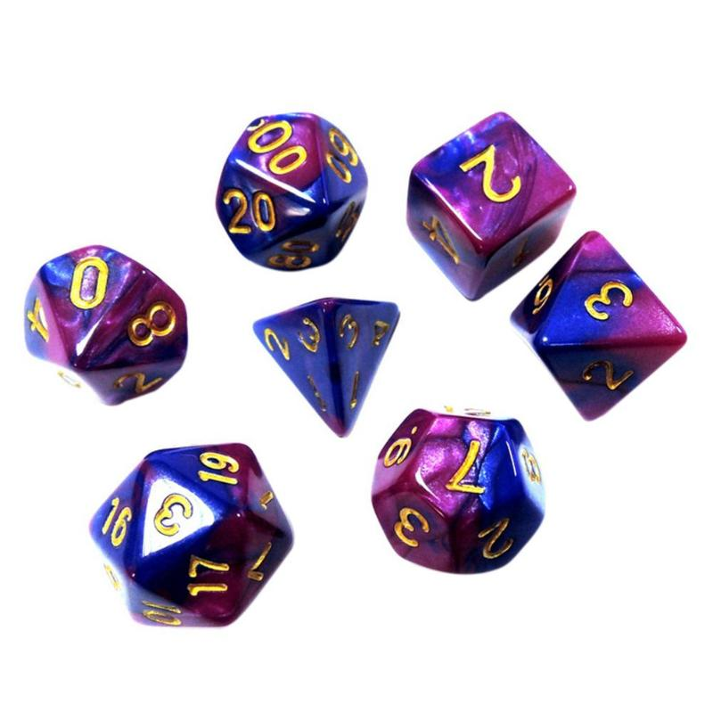 7pcs/Set Blue-purple Acrylic Polyhedral Dice Toys Role Playing Table Dice Set Kids Number Learning Education Toys Play Game Toy Pakistan