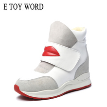 Buy E TOY WORD Women Winter Sneakers platform 2019 Winter Warm Plush Women shoes Hook & Loop Lip Print height Increasing ankle Boots directly from merchant!