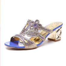 Women Shoes Rhinestones Slippers 2019 Summer New Korean Blue Fish Mouth High Heels Womens Woman