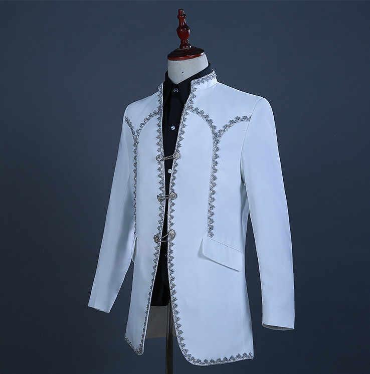 イングランドスタイル裁判所の服男性のスーツ白ブレザーパンツ歌手コーラス衣装結婚式新郎スーツホストステージショーの服