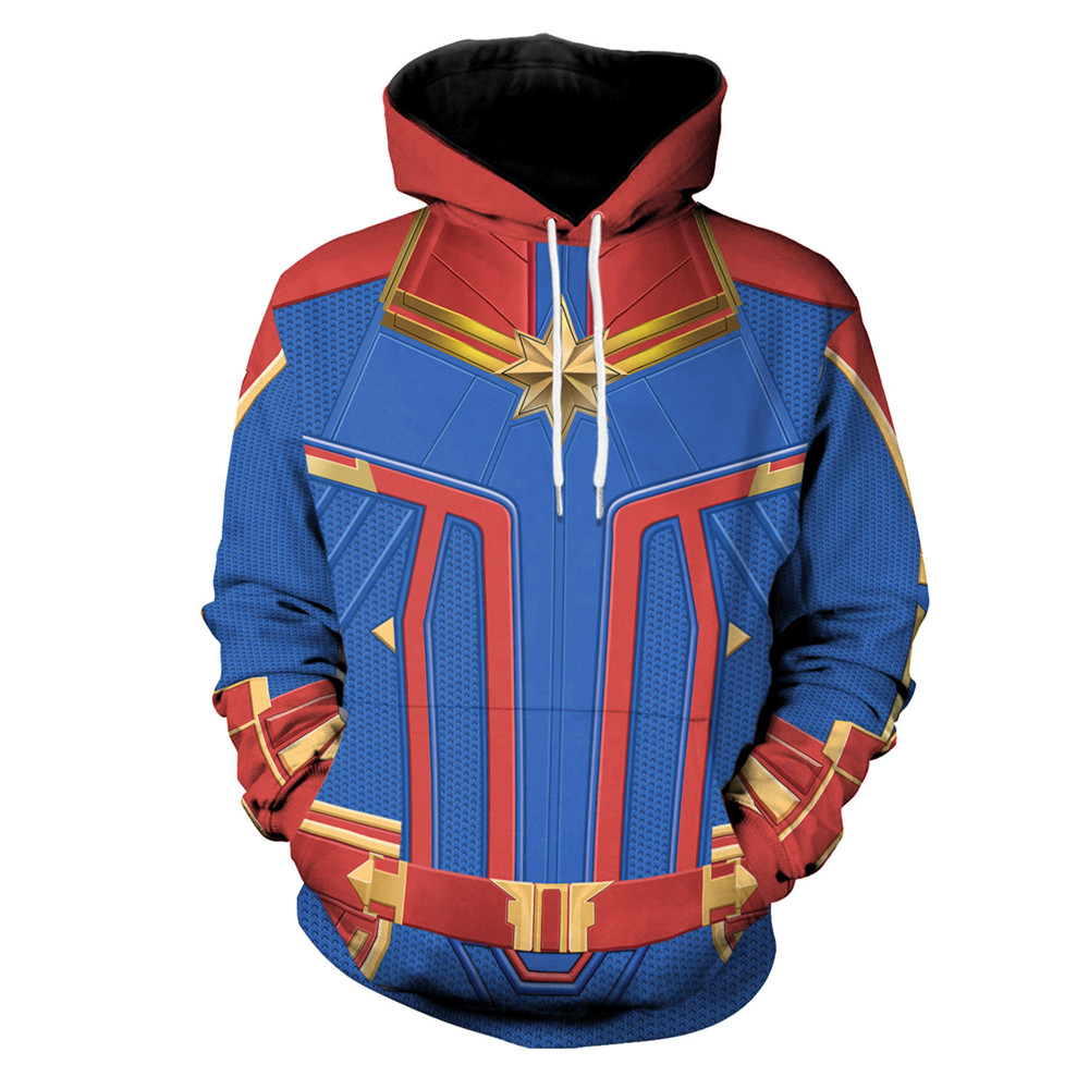 Unisex Captain Marvel Cosplay Costume Carol Danvers Superhero Hoodie Halloween Costumes