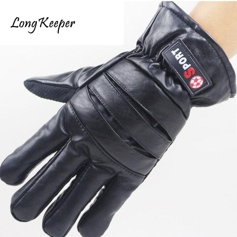 Gloves Men Leather Outdoor guantes Plus Velvet Winter Keep Warm Gloves Touch Screen Windproof Waterproof Ski eldiven Long Keeper