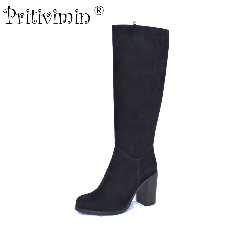 Pritivimin FN65 2017 fashion woman thick super high heel knee high boot female suede leather winter warm real fur lined shoe dunlop sp winter ice 02 205 65 r15 94t