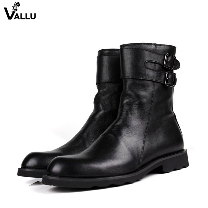 Double Buckle Strap Popular Trend Men Boots 2018 New European Luxury Brand Genuine Leather Cool Fashion Male Boots Shoes 2017 fashion european popular 100