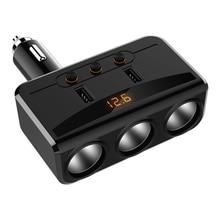 Автомобильный Разветвитель Прикуривателя с 3 гнездами, 2USB порта, адаптер зарядного устройства с переключателем, светодиодный дисплей с определением напряжения