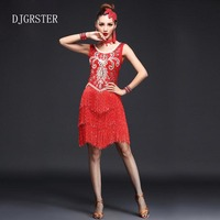 DJGRSTER Women Latin Dance Dress Fringe Ballroom Dancing Dresses Latin Dance Costume Dance Latin Dresses Tango
