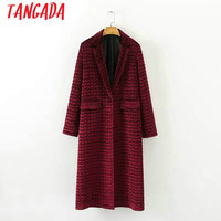 Tangada Women Winter Red Velvet Quilting Coats Women Long Parka Thick Female Warm Cotton Parkas Padded Coats High Quality XD207