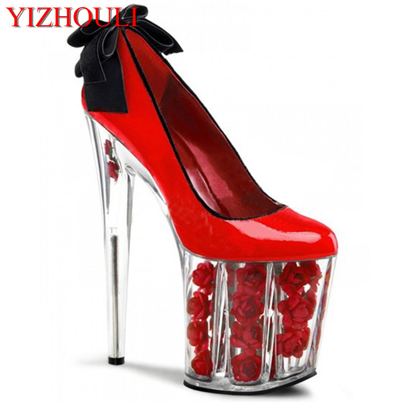 20cm Rose Flowers Platform Wedding Shoes Thick Sole