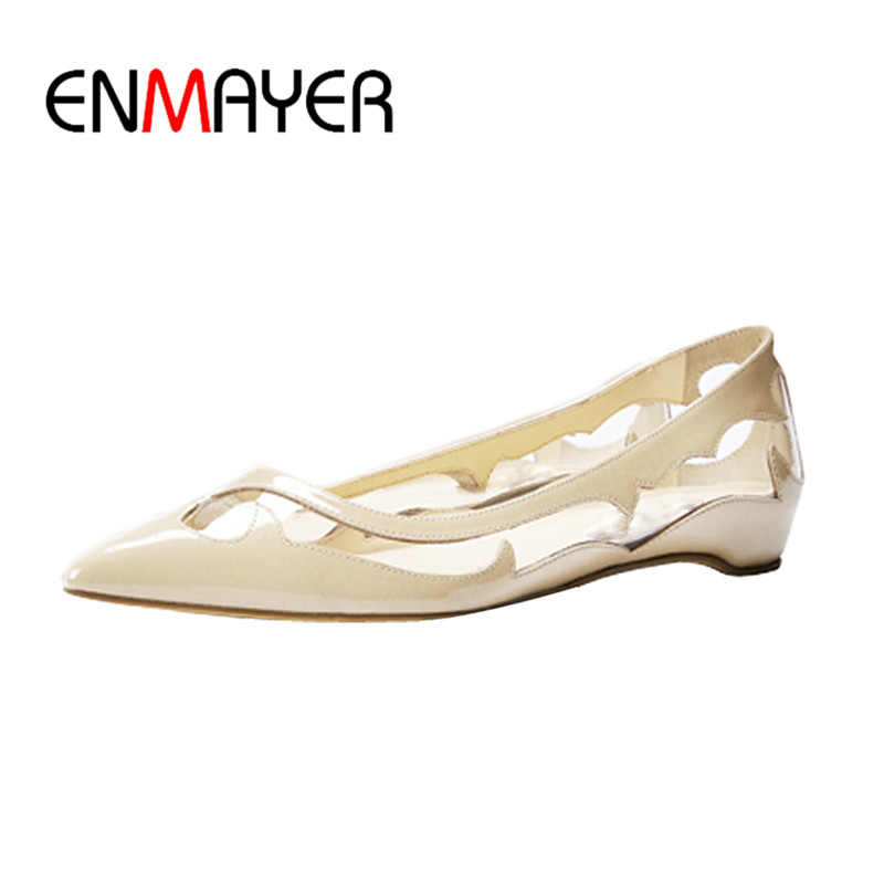 ENMAYER Blue Pink Beige Flats Shoes Woman Shallow Summer Plus Size 35-46 Poined Toe Slip-on New Flats Shoe Party Mary Janes enmayer pointed toe summer shallow flats slip on luxury brand shoes women plus size 35 46 beige black flats shoe womens