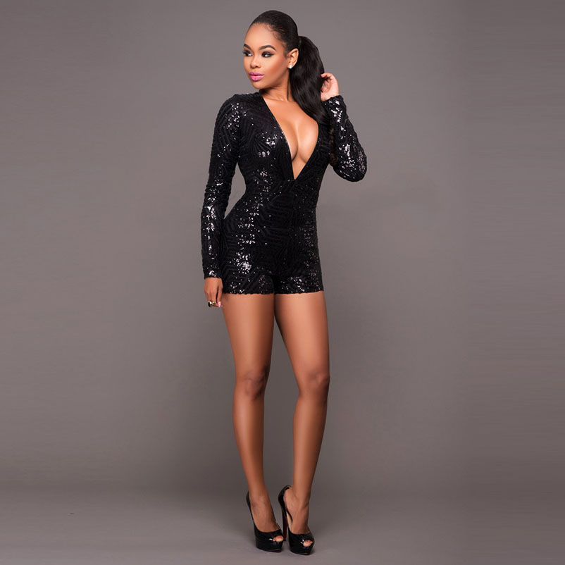 2017 plus size jumpsuits and rompers for women sequin jumpsuit body suit summer rompers womens jumpsuit shorts bodysuit women  4