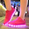 Llevó Los Zapatos Mujeres de La Manera Atan Para Arriba Zapatos Luminosos Brillantes Planos Ocasionales Tenis Feminino cesta Llevó Zapatos Femeninos Zapatos de Mujer