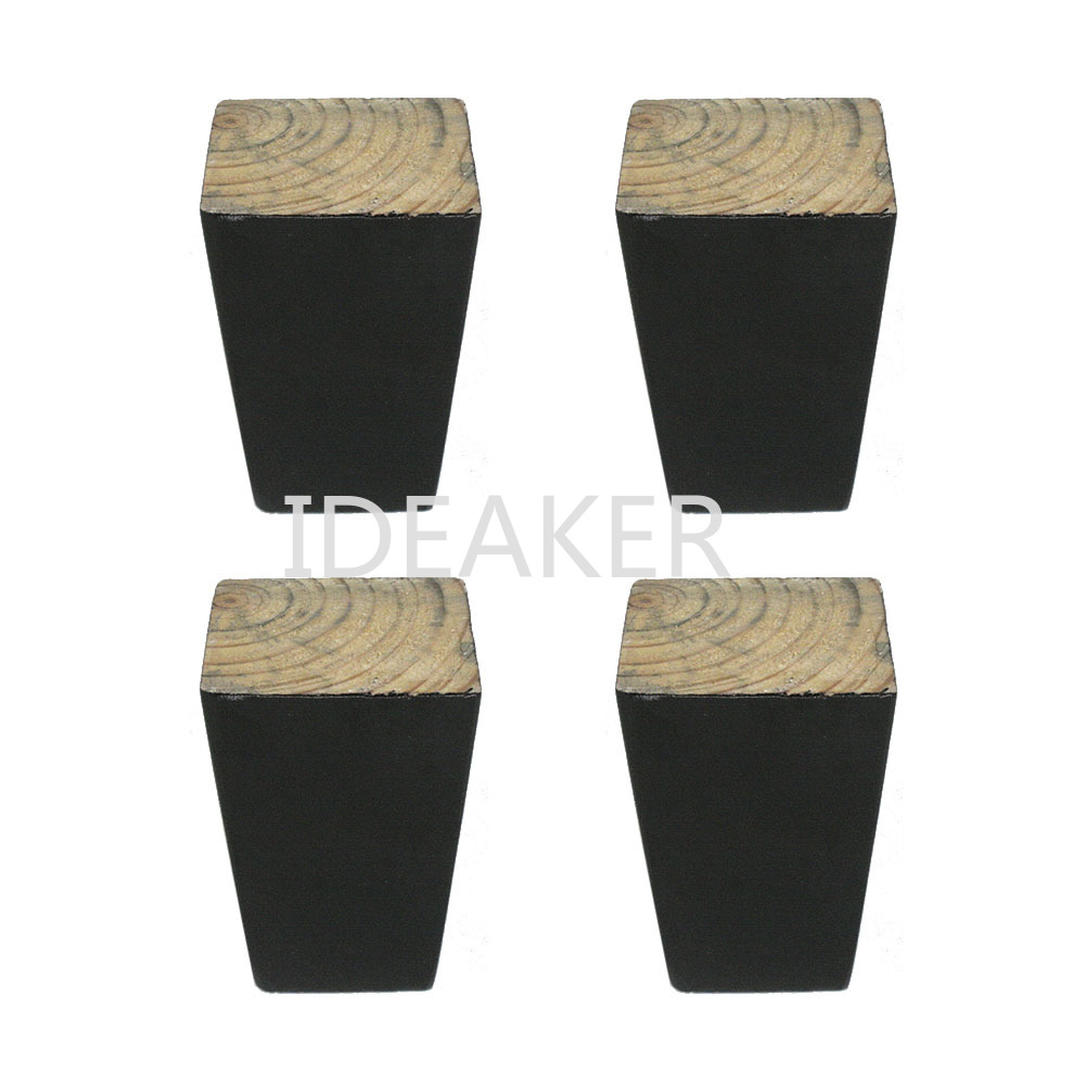 4PCS 6x8x3.8CM Furniture Legs Wooden Furniture Feet Cabinet Table Feet With Iron Pads Gaskets Screws