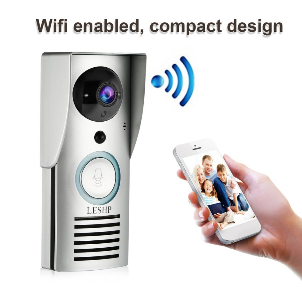 LESHP Wifi Doorbell Smart-Guard Wide-Angle 180-Degree 1080x720p-Camera Night-Vision APP